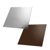 DM-30X30/CK-SI Δίσκος-Βάση Τούρτας Χάρτινη Τετράγωνη  30x30cm σε ασημί και σοκολατί χρώμα, Ιταλίας (τιμή ανά κιλό)