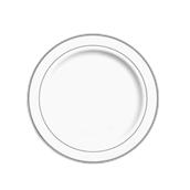 INJPLWS2320C10 Πιάτο Ρηχό Στρογγυλό με ασημί χείλος, Φ23cm, Λευκό, PS, Μίας Χρήσης, Σειρά mozaik, Sabert