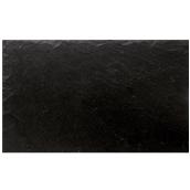 ARD.5332 Ορθογώνια Πιατέλα πορσελάνης Χειροποίητη (με όψη σχιστόλιθου), 53x32.5x0.7cm, μαύρη