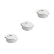 MO0811F0000 /A ΣΕΤ 3 Στρογγυλά Γιουβετσάκια με καπάκι Φ7cm, Σειρά MIGNON, λευκά