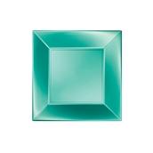 8052-86 Πιάτο γλυκού πλαστικό PP τετράγωνο 18x18cm πράσινο ΠΕΡΛΕ, πολυτελείας