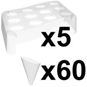 VS6031-21 Πακέτο 5 βάσεις + 60 κώνοι FingerFood 40cc, πολυτελείας