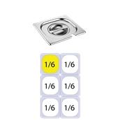 FLG-N-1/6 Καπάκι με εγκοπή δοχείου γαστρονομίας ανοξείδωτο 18/10, GN1/6 (17.6x16.2cm), FUECO