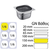 FGN-1/6-15 Δοχείο γαστρονομίας ανοξείδωτο 18/10, GN1/6 (17.6x16.2cm)-15cm, FUECO