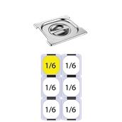 FLG-H-1/6 Καπάκι δοχείου γαστρονομίας με εγκοπή για χερούλια ανοξείδωτο 18/10, GN1/6 (17.6x16.2cm), FUECO