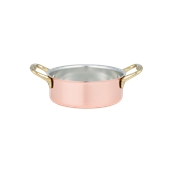 5340/14 Κατσαρολάκι Ρηχό χάλκινο με 2 χερούλια φ14x5Υcm, 0.73LT, Cu Artigiana
