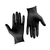 GLV-BK/L Σετ 100τεμ γάντια Λάτεξ μεγάλης αντοχής, χωρίς πούδρα, μαύρα, LARGE
