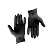 GLV-BK/M Σετ 100τεμ γάντια Λάτεξ μεγάλης αντοχής, χωρίς πούδρα, μαύρα, MEDIUM