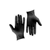GLV-BK/S Σετ 100τεμ γάντια Λάτεξ μεγάλης αντοχής, χωρίς πούδρα, μαύρα, SMALL