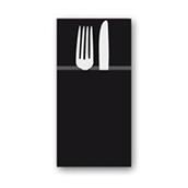 88480400 ΠΑΚΕΤΟ 50 Χαρτοπετσέτες Airlaid  Quick Pocket 40x40 Tablewear μαύρες, FATO Ιταλίας