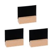 HMX01-710 Σετ 3 Κάρτων 2 Όψεων, ΜΑΤ μαύρη  με Ξύλινη Βάση, 7x10 cm