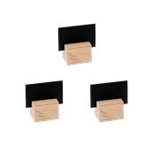 HMX01-46 Σετ 3 Κάρτων 2 Όψεων, ΜΑΤ μαύρη με Ξύλινη Βάση, 4x6 cm