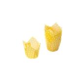 TV5P02 Xάρτινη θήκη ψησίματος Tulip, κίτρινη πουά, Tulip φ50(βάση)x50mm, Ιταλίας