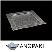 LK1001-SM-30X30 Πιατέλα τετράγωνη από χυτό γυαλί 4mm, 30x30cm, ανθρακί