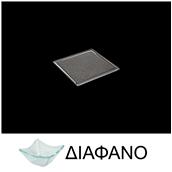 LK1A49S-TR-15X15 Πιάτο τετράγωνο με στενή φάσα από χυτό γυαλί 4mm, 15x15cm, διαφανές