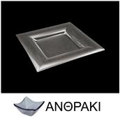 LK1822-SM-26X26 Πιάτο τετράγωνο από χυτό γυαλί 4mm, 26x26cm, ανθρακί