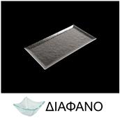LK1870R-TR-17X32 Δίσκος ορθογώνιος από χυτό γυαλί 4mm, 17x32cm, διαφανές