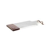 CT.6891051 Μαρμάρινο πλατό σερβιρίσματος 35x15x1cm, με λαβή & ξύλο, Cosy & Trendy