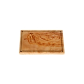 WL114 Πιατέλα ξύλου ελιάς 17x24cm, παραλληλόγραμμη με λούκι, ελληνικής κατασκευής