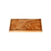 WL115 Πιατέλα ξύλου ελιάς 15x30cm, παραλληλόγραμμη με λούκι, ελληνικής κατασκευής