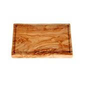 WL116 Πιατέλα ξύλου ελιάς 20x40cm, παραλληλόγραμμη με λούκι, ελληνικής κατασκευής