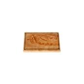 WL113 Πιατέλα ξύλου ελιάς 14x21cm, παραλληλόγραμμη με λούκι, ελληνικής κατασκευής