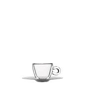 THERMIC-CUP/6.5CL Γυάλινο Φλυτζάνι με inox πιατάκι espresso, διπλών τοιχωμάτων 6.5cl, Luigi Bormioli