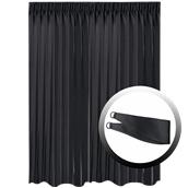 BOC-295X290/02 Κουρτίνα Blackout 295x290cm, με 1 δέσιμο, 230gr 100% Polyester, Μαυρο