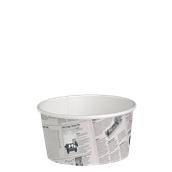 210DELINEWS20 Χάρτινο δοχείο για σαλάτες, 600ml, Φ11,4cm, σχέδιο εφημερίδα, μίας χρήσης