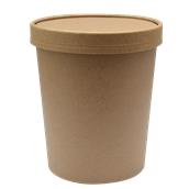 210SOUPCOK32 Χάρτινο κύπελλο Kraft με καπάκι, 950ml, 13,5x11,6cm
