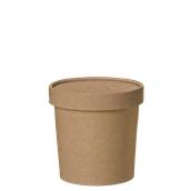 210SOUPCOK12 Χάρτινο κύπελλο Kraft με καπάκι, 350ml, 9x8,5cm