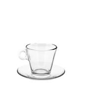 T05000 Γυάλινο Φλυτζάνι με πιατάκι Cappuccino, 22,5cl, Φ9,3 x 6,5cm, Σειρά NADIA, CERVE