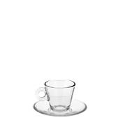 T04970 Γυάλινο Φλυτζάνι με πιατάκι Espresso, 7,5cl, Φ6,4x5,2cm, Σειρά NADIA, CERVE