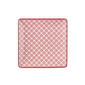 KROZ-RD-FP-35 Πιάτο Ρηχό πορσελάνης τετράγωνο 25x25cm - φ35cm, Σειρά KROZ Κόκκινο, LUKANDA