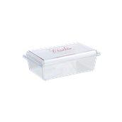 041.040.006 Σκεύος γλυκών με καπάκι, 20x13x5,5cm, πολυτελέιας CRYSTAL PS, διαφανές, Erremme Ιταλίας