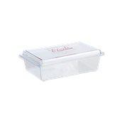 041.040.009 Σκεύος γλυκών με καπάκι, 23,5x15x5,5cm, πολυτελέιας CRYSTAL PS, διαφανές, Erremme Ιταλίας