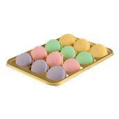 024.120.012 Σκεύος με 12 θήκες για Macaron με καπάκι, 26,7x18,2cm, πολυτελέιας PP/ PET, χρυσαφί, Erremme Ιταλίας