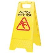 "CFLS/24WF Πλαστική σήμανση δαπέδου, κίτρινη, ""CAUTION WET FLOOR"", 61cm/24"""