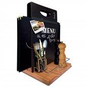 CAD-TE Βάση ξύλινη για καταλόγους MENU, λαδόξυδα και αλατοπίπερα, 22x20cm, με μαυροπίνακα και μαρκαδόρο