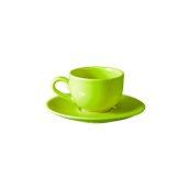 NATIVE-C180-GN Σετ φλυτζάνι τσαγιού 180cc με πιατάκι, κεραμικό, πράσινο