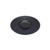 CDP012K Πιάτο Ρηχό Πορσελάνης φ26x3cm, γυαλιστερό εσωτερικό, ανάγλυφο γείσο, Σειρά CDP, μαύρο, SUNNEX