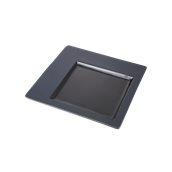 CDP002K Πιάτο Πορσελάνης Τετράγωνο 30x30x1.5cm, γυαλιστερό εσωτερικό, ματ γείσο, Σειρά CDP, μαύρο, SUNNEX