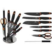 BH-2117 Σετ κασετίνα με 8 τεμ μαχαίρια/εργαλεία κουζίνας και βάση, σειρά Granit Diamond, Berlinger Haus