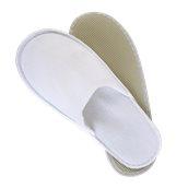 AM-501B Ζεύγος Παντόφλες πετσετέ λευκές με σόλα 4mm