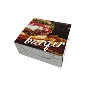 263.00.0001 Κουτί μεταλιζέ 4 σημείων, πλαστικοποιημένο, με σχέδιο Burger. 14x13x5.5cm