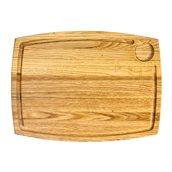 KS-020193 Ξύλινο πλατό με Λούκι & 1 θέση Ντιπ, Ορθογώνιο, από ξύλο Καστανιάς, 38x28cm