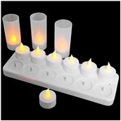 MCS-412/SET ΣΕΤ 12 Επαναφορτιζόμενα ηλεκτρικά κεριά με βάση φόρτισης και θήκες, Φ3,9x4,8 cm