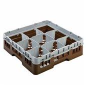 AMB-09/BROWN Μπασκέτα Πλυντηρίου (κλειστού τύπου), 9 χωρίσματα, 50x50x14.3cm, καφέ, AMER-BOX