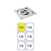 816-L Καπάκι δοχείου γαστρονομίας ανοξείδωτο SS201, 0.7mm, GN1/6 (17.6x16.2cm)