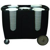 TAA-6/BLACK Ρυθμιζόμενο τρόλεϊ μεταφοράς πιάτων, 6 χωρισμάτων, 110x71x80cm